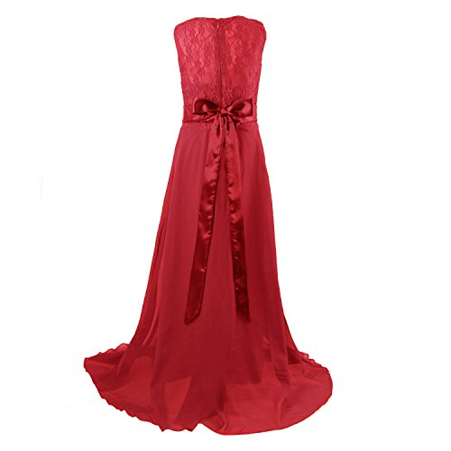 Floor Length Dress for Girls, Acecharming Big Girls Lace Chiffon Bridesmaid Dress Party Gown
