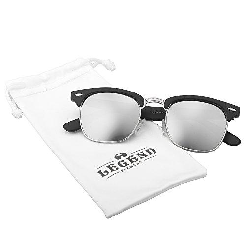 Retro Classic Metal Half Frame Horn Rimmed Sunglasses (Black Matte/Silver Rimmed/Silver Mirror)