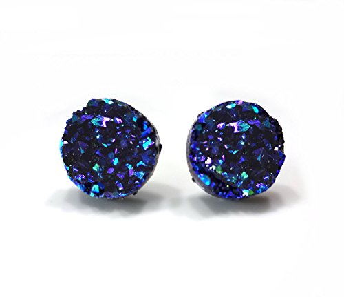 12mm Purple Teal Blue Black Rainbow Color Changing Iridescent Faux Druzy Stud Earrings Titanium Posts