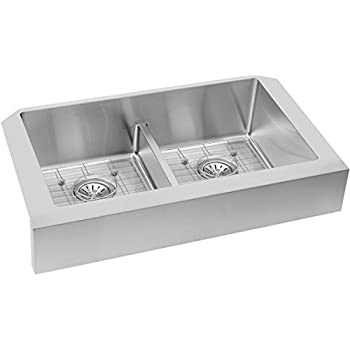 Elkay Crosstown ECTRUFA32179DBG Equal Double Bowl Apron Front Stainless  Steel Sink Kit With Aqua Divide