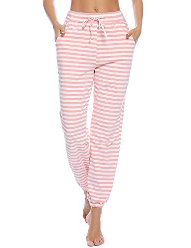 Aibrou Pajama Pants for Womens Cotton Stretch Knit Lounge Pants Bottoms (Stripe_Pink, Medium)