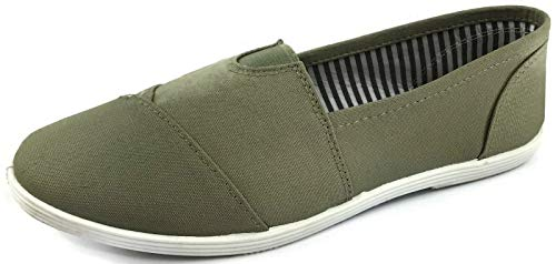 - Womens Canvas Slip-On Shoes with Padded Insole, Olive Sage, 10