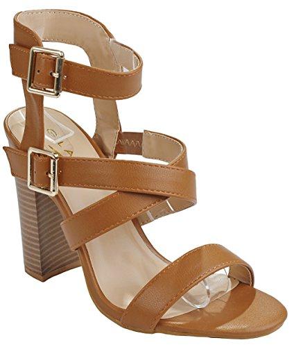 Faux Leather Strappy Heel Sandal (Women's Brandy Tan Strappy Open Toe Mary Jane Faux Leather Block Heel Dress Sandal-9)