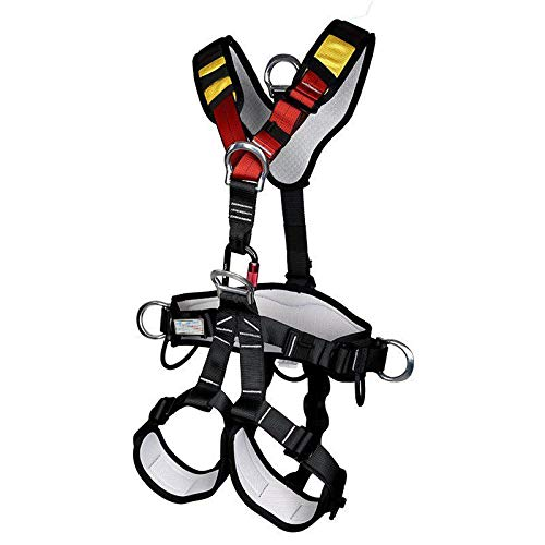 YaeCCC Climbing Harness for Fire Rescue High Altitude School Assignment Caving Rock Climbing Rappelling Equipment Body Guard Protect (Full Body)