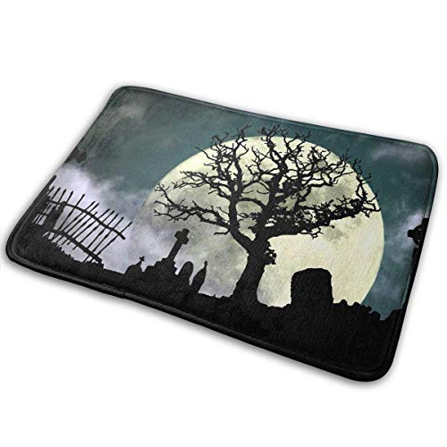 Halloween Cemetery Scene Soft Comfort Flannel Indoor Mats Rugs,Anti-Skid Multi-Use Doormat Super Absorbent Bathroom Mat Toilet,Kitchen Floor Mats Washable Home Decor -