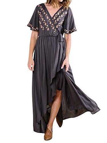 - Meilidress Womens Short Sleeve Embroidered High Waist Wrap Split Floral Maxi Dress Dark Grey