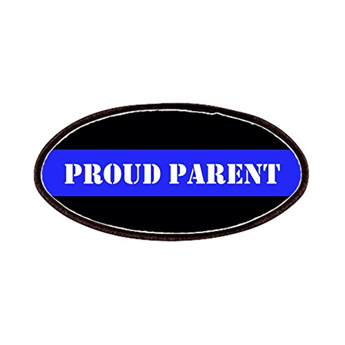 CafePress - Proud Police Parent Patches - Patch, 4x2in Printed Novelty Applique Patch (Highway Patrol Police Patch)
