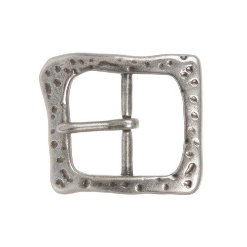1 1/2 Inch Single Prong Antique Silver Hammered Square Belt Buckle (Square Buckle Belt)