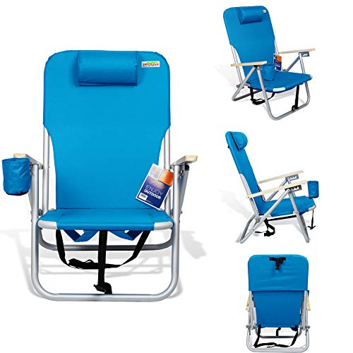 690GRAND Beach Backpack Chair Reclining Lightweight Folding Chair with Neck Pillow, Straps for Easy Carry On Trips to Camping, BBQ, Campfire included Drink Holder