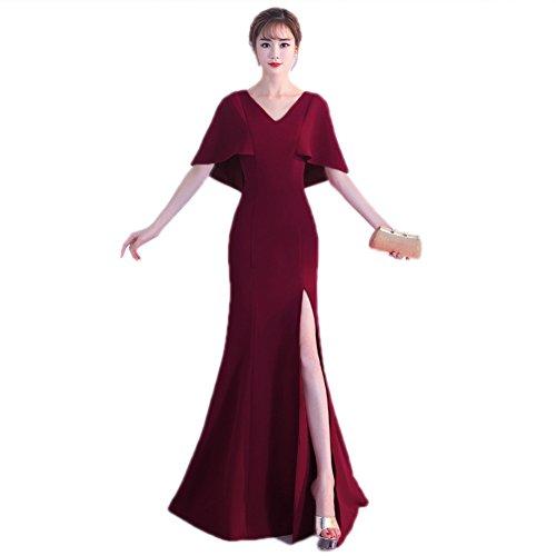 Robe Cotylédons De Women`s Étage V Cou À Manches Courtes Mince Robe De Soirée Rouge Profond