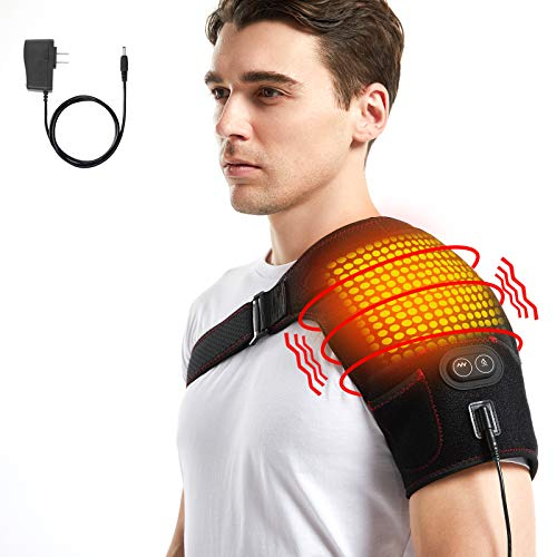 Heated Shoulder Wrap with Massage, Electric Shoulder Heating Pad Massager for Men Women Frozen Shoulder Rotator Cuff AC Joint Dislocation Pain Relief with AC Adapter