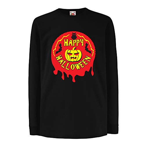 T-Shirt For Kids Happy Halloween! - Party Clothes - Pumpkins, Owls, Bats (9-11 Years Black Multi Color) (Dry Ice Recipes Halloween)