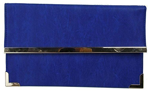CLUTCH EVENING Royal TRIM ENVELOPE HANDBAG LEATHER WOMENS PARTY DETAIL Blue GOLD FAUX FLAT zR4xw1qg