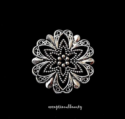 10 Antiqued Silver Filigree Flat Star Flower Focal Bead Drop Cabochon Components