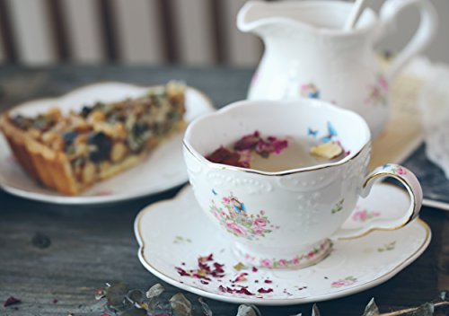 Jusalpha Fine China Porcelain Coffee Cups Flower Series Teacup Saucer Spoon with Teapot Warmer & Filter, 16pcs in 1 set (16pcs set) by Jusalpha (Image #3)