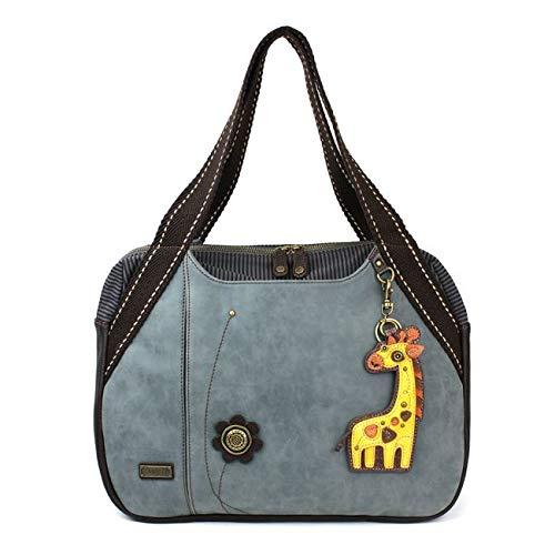CHALA Handbag Bowling Zip Tote Large Bag Indigo Blue Pleather Giraffe