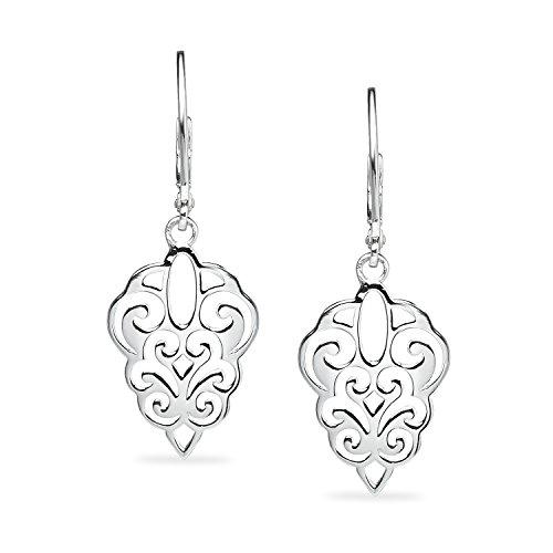 (River Island Sterling Silver Diamond Shaped Filigree Drop Earrings)