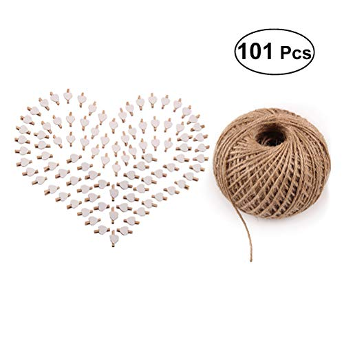 Toyvian 101pcs Picture Photo Paper Clips Mini Natural Wooden Clothespins with Jute Twine for DIY Craft Scrapbooking (100pcs Clips and 1pc 100Yard String) by Toyvian