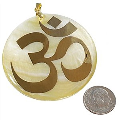 Gold-tone Inlay Lucky OM on Shell Mother-pearl Pendent with Complimentary Chain