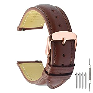 Quick Release Leather Watch Band 20mm Brown Replacement Watch Strap Genuine Polished Watch Clasp Buckle Gold Rose Padded Soft (18mm 20mm 22mm)