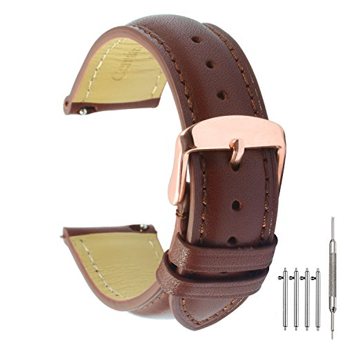 Quick Release Leather Watch Band 22mm Brown Replacement Watch Strap Genuine Polished Watch Clasp Buckle Gold Rose Padded Super Soft (18mm 20mm 22mm) (Genuine Leather Watch Strap)