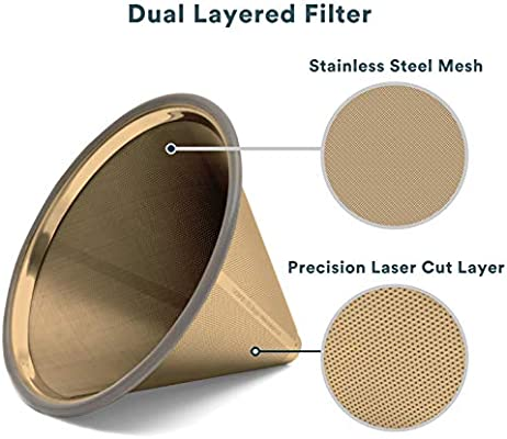 Filtro de acero inoxidable Hario y otras jarras Chemex titanio dorado Gotero de cono reutilizable y de uso duradero para Ovalware . para verter en la cafetera o taza sin papel