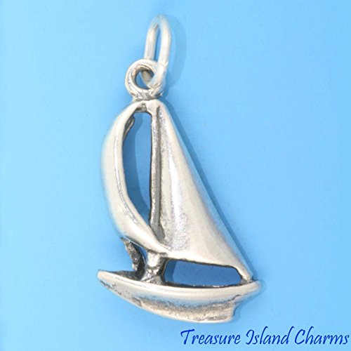 (Charm - Sterling Silver - Jewelry - Pendant - Sailboat)