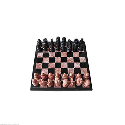 Italian Black and Rose Marble Chessboard Scacchiera Handmade Classic Table Chess Set with Pawns 20x20cm 8in ()