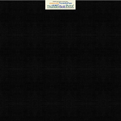 50 Black Linen 80# Cover Paper Sheets - 12