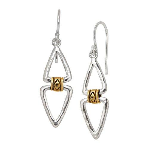 Silpada Double Up Hinged Open Drop Earrings in Sterling Silver & Brass