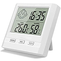 TPFOON Digital Indoor Hygrometer Thermometer with Time Display, Accurate Temperature Humidity Monitor Meter for Home, Office, Nursing Room, Greenhouse, Warehouse and More (Battery Included)