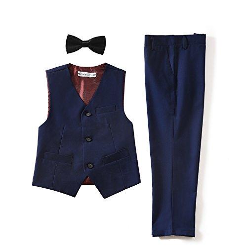 Vest Formal Set (Yuanlu 3 Piece Kids Boys Formal Vest and Pants Set with Bowtie Navy Blue Size 10)