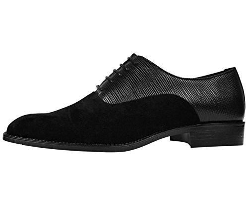 Bolano Mens Vertical Emboss and Faux Suede Oxford Dress Shoe with Black Sole Style Strider Black cheap sale clearance amazon footaction free shipping hot sale clearance 100% authentic IK6NZjdF