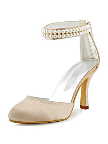Satin Stiletto High Heel Shoes (ElegantPark AJ3065 Women Closed Toe High Heel Pumps Pearls Ankle Strap Satin Wedding Shoes Champagne US 9)