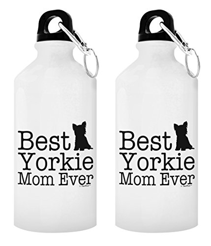 (Best Dog Mom Gifts Best Yorkie Mom Ever Yorkshire Terrier Gifts 2-Pack Aluminum Water Bottles with Cap & Sport Top White)