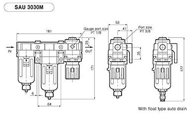 1//4 bspp filtro de aire de part/ículas filtro de coalescencia PneumaticPlus Sau230-g02g mini sistema de tres etapas de secado al aire el regulador de presi/ón de aire combo