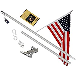 A-ONE 5Ft Tangle Free Spinning Flagpole Deluxe Aluminum American US Flag Pole Kit with Stainless Steel Rust Prevention Clip and Free Bracket for Outdoor Residential or Commercial Wall Mount, Silver