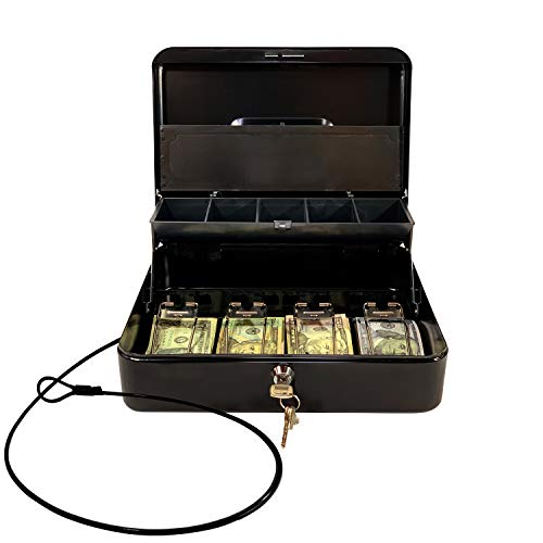Cash Box by OSAFE - Money Box with Lock & Security Cable - Cash Safe Box with New Lid Coin Tray, 5 Compartments, 4 Spring Loaded - Large 3.5H x 9.5W x 11.8L Inch Metal Money Box with 4 Keys - Black