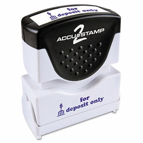 (Accustamp 035601 Pre-Inked Shutter Stamp With Microban, Blue, For Deposit Only, 1 5/8 X 1/2)