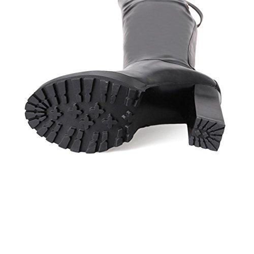 Heel High Latérale Rough NVXIE High EUR37UK455 Antidérapant Knee Femmes Artificiel Glissière Longues Hiver Fête Rouge Noir Bottes Travail Automne de PU 0wpFgqw