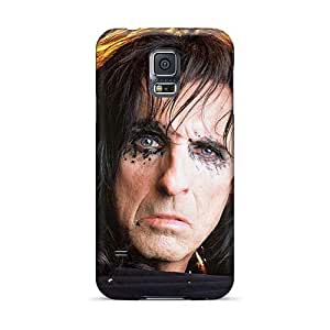 SherriFakhry Samsung Galaxy S5 Shock-Absorbing Hard Phone Cases Custom Realistic Alice Cooper Band Image [pXn11748cRnB]