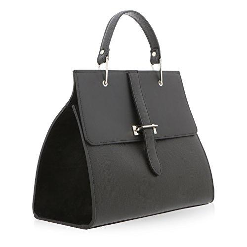 Main in 10 pour Véritable Noir 29 Florence à Sac Femme cm Made 35 Cuir 5qXcUPcwR