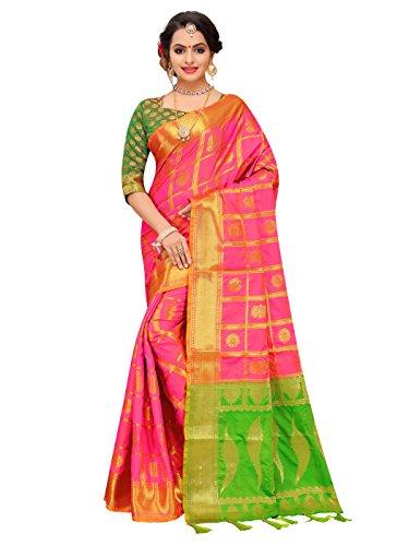 (ELINA FASHION Sarees for Women Patola Art Silk Woven Work Saree l Indian Bollywood Wedding Ethnic Sari with Blouse Piece (Peach))