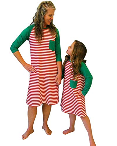 Christmas Casual Mother Daughter Winter Red Striped Maxi Dress Family Matching Pajamas Nightgown Dress (Red Mother, Tag Size L(for US M))