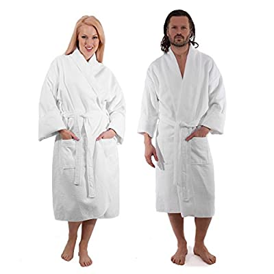Luxury Kimono Waffle Bathrobe Lined In Terry Cloth Interior - 100% Cotton