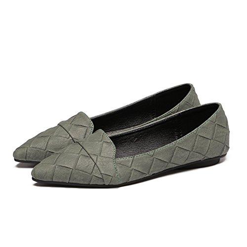 Trabajo Zapatos Mujer luz Solo Casual Calzado Plano Plano un El 4 Zapatos con Calzado verde Xue Sugerencia Simple de Qiqi Ongzwva