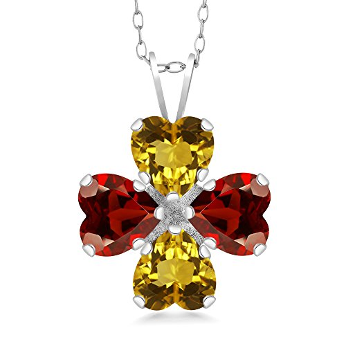 (Gem Stone King 3.24 Ct Heart Shape Yellow Citrine Red Garnet 925 Sterling Silver Pendant 18inches)