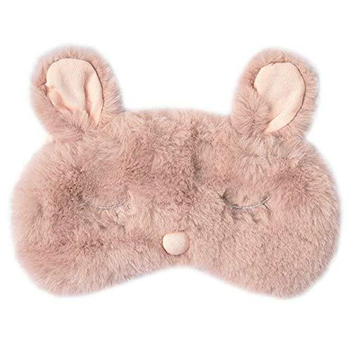 Shinywear Women Plush Rabbit Eye Mask Cute Sleeping Blindfold Eye Cover Fuzzy Bunny Ear Eyeshade for Travel Nap Night Sleeping blinder (Pink Rabbit)