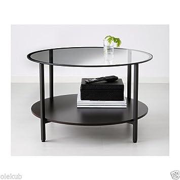 VITTSJÖ, Coffee Table, Black Brown, Glass