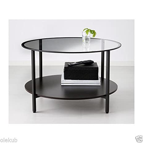 Amazoncom VITTSJ Coffee table blackbrown glass Kitchen